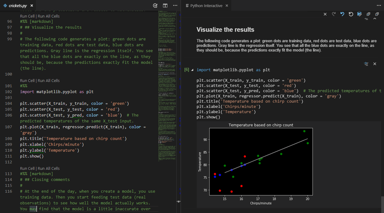 Jupyter notebook running in VS Code and the Python interactive window