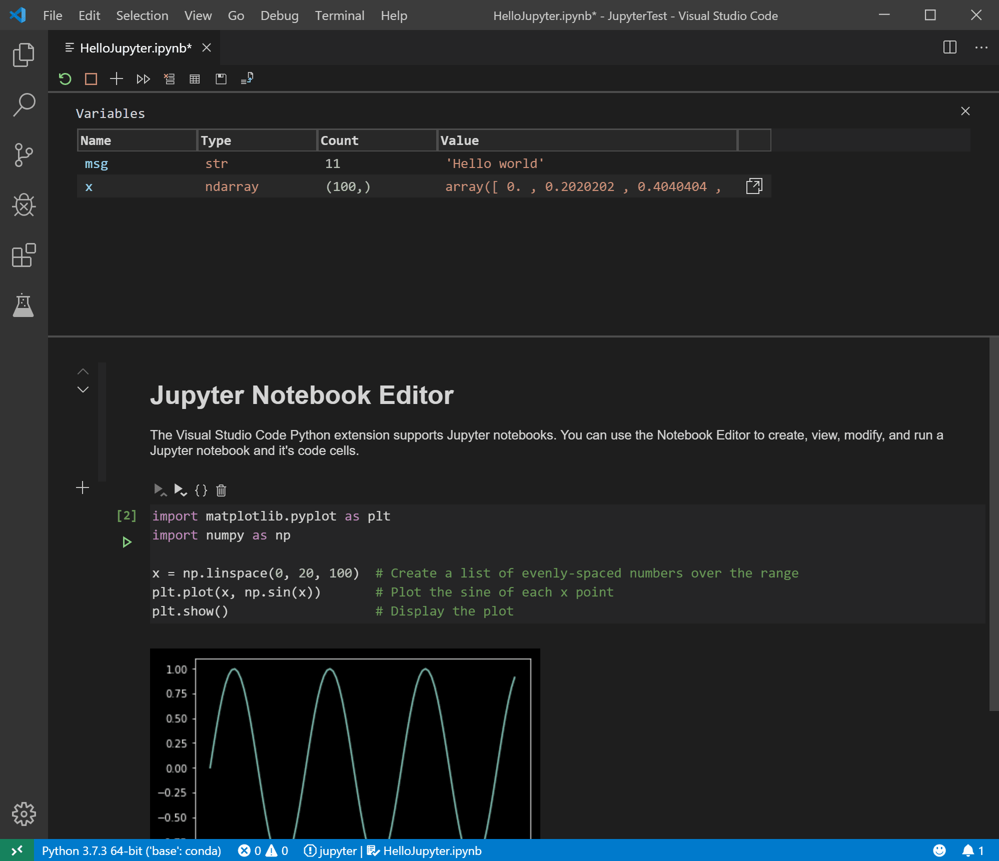 Jupyter notebook running in VS code in the Notebook Editor